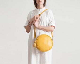 Bubble-round bag leather shoulder bag
