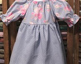 Girls peasant dress, Girls dress, Little girls dress, Toddler dress, Girls spring or summer dress, Boho girls dress, Size 2T, #185