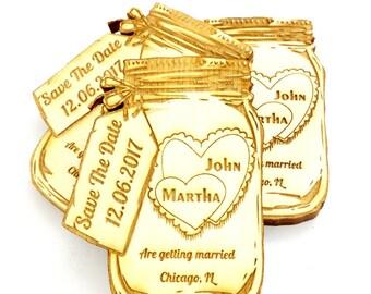 10x Save the Date Refrigerator Magnet, Fridge, Wedding Invitation, Custom Wooden Magnet, Kitchen Magnet