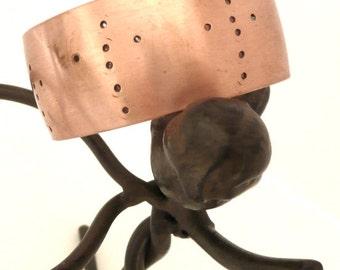Cross Embellished Copper Cuff Bracelet Modern Metal Artisan Handmade Metal Jewelry 7th Anniversary Gift Christian Wear