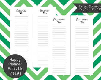 Happy Planner GROCERY LIST Printable Inserts, Happy Planner, Create 365, Happy Planner Insert, Happy Planner Refill, Happy Planner Page