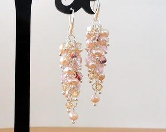 Cascade earrings long pink rose pearl dangle swarovski crystal earrings dangling sparkly rhinestone earrings wedding jewelry crystals gift