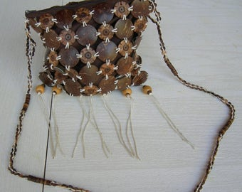 Seventies handmade Vegan coconut purse