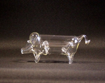 Mouth-blown glass pig with piglet in the abdomen-glass object-Vintage glass