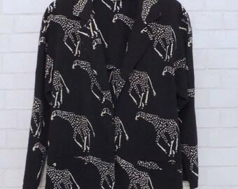 Chic Giraffe Black and White Blazer