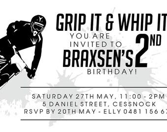Grip it & Whip it Boys Dirt Bike Birthday Invitation