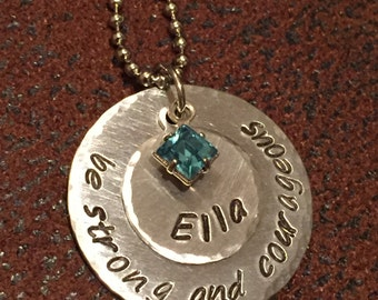 "hand stamped custom name necklace, hand stamped ""be strong and courageous"" necklace, faith necklace"