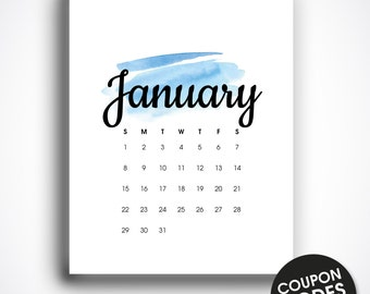 Wall calendar 2017 printable, calendar 2017, letter size, printable monthly calendar, wall calendar pdf, january 2017, watercolor calendar