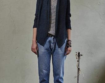 Linen wrap, Blue knitted linen sweater, Linen summer jacket, Organic linen cardigan,Knit linen jacket,Linen summer wrap,Knit linen sweater