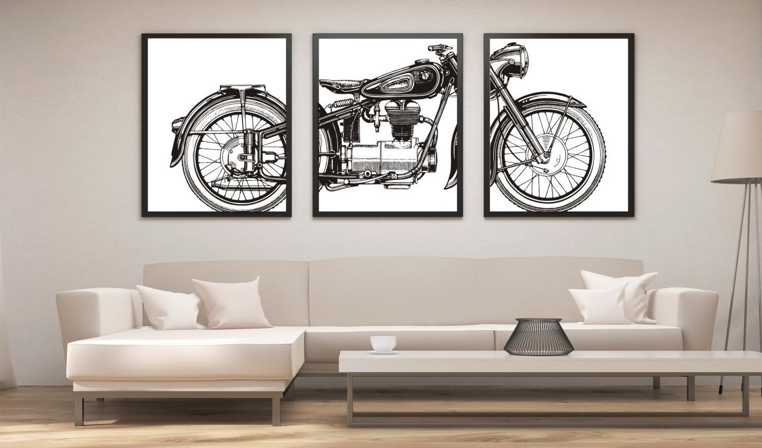 Exceptionnel Motorcycle Print Set, Motorcycle Panel Art, Panel Wall Art, Motorcycle Art,  Man Cave Wall Decor, Large Wall Art, Gifts For Him, Office Art