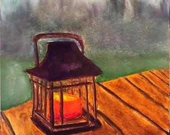 Lanturn in Fog Original Oil Painting