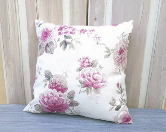 Floral pillow, shabby chic pillow, violet roses flowers cushion, elegant pillow, handmade in Italy pillow, floral white tuscany cushion