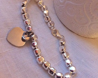 """Smooth large nuggets bracelet and charms 925 Sterling Silver """"heart"""""""