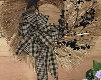 Deluxe BroomStraw Summer Fall Wreath, Primitive Wreath, Farmhouse Wreath