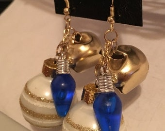 Christmas Ornament Earrings w/ Bell & Light (New Styles Added)