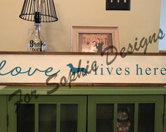 Love Lives Here Rustic Wooden Sign - Dachshund