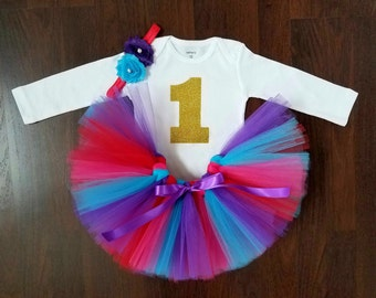 Baby Girl 1st Birthday Outift - Red, Pink, Purple and Turquoise Tutu