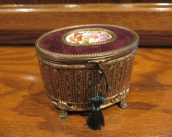 MUSIC BOX Palais Royale Style Velvet Lined Brahm's Lullaby French 19th C Vintage SALE