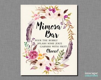 Mimosa Bar Sign Printable, Boho Bridal Shower Mimosa Bar Sign, Bohemian Mimosa Bar Sign, Floral Feathers Elegant Unique Bridal Shower Decor