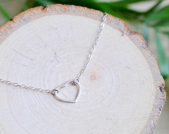 925 Sterling Silver Heart Necklace, Valentines Day Gift, Love, Choker, Delicate Necklace, Stacking Necklace, Minimalistic, Gift for Women