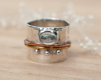 Blue Topaz Spinner Ring * Meditation * Spinning * Spin *Anxiety* Sterling Silver 925 *Bronze *Jewelry *Bycila *Handmade * Yoga * Boho BJS028