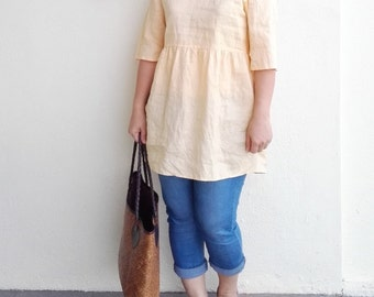 Linen Tunic / High Waist Linen Tunic Top
