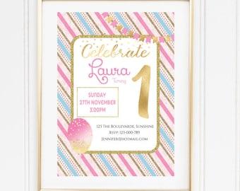 Birthday Invitation, Pink and Gold Invitation, Gold Glitter Invitation, Party Invitation, Printable Invite,  Girls Invitation, Watercolor