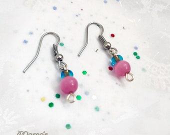 "Pink Cat's Eye Glass Mini Earrings, 1/2"", Beads, Nickel Free, Iron, Fishhook Shepherd's Hooks, Translucent, Blue, Small, Cute"