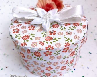 "Orange Blossom Paper Mache Jewelry Box, 3.5""w x 2""h, Cardstock, White Lily, Ribbon, Orange Flowers, Gold, Birthday Gift, Daughter, Round"