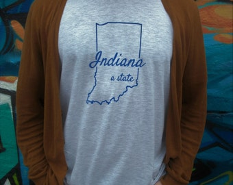Indiana, a State T-shirt : Hand Screen Printed Unisex T-shirt, men's, women's, gift, grey gray t-shirt, Indy, Indianapolis, Bloomington