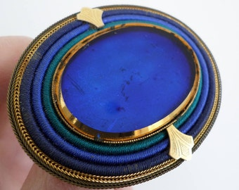 Vintage Oval Langani  Brooch - vivid blue butterfly wing panel, gold metal