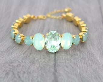 Gold bracelet, Bridal bracelet, Crystal bracelet, Mint bracelet, Seafoam green, Mint green crystal, Mint opal bracelet, Swarovski bracelet