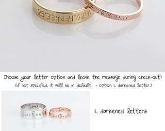 Dainty Rose Gold Couple Rings, Gold Coordinates Ring, Silver Wedding Bands, Stackable Latitude LongitudeBand, Gift for her, Gift for men