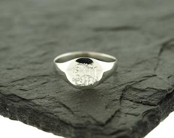 925 Sterling Silver Monogram Signet Ring, Teen Ring, Name Ring, Personalized Ring, Monogram Ring