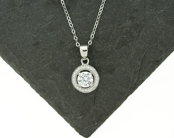 925 Sterling Silver CZ Halo Necklace, Round Halo Necklace, Halo Charm, Halo Pendant