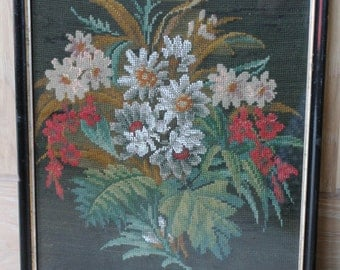 Vintage Floral Beadwork Needlepoint/Tapestry/Embroidery/ Art & Collectables/ Fiber Arts/ Needlepoint/ Framed Beadwork