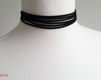 Choker necklace collar multi black silver