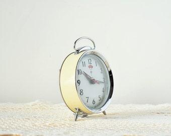 Vintage Polaris Mechanical Wind Up Alarm Clock - Enamel, Chrome And Glass - Cream & Grey - Mid Century Style