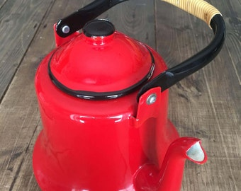 Vintage Red/Black/White Enamelware Tea Kettle