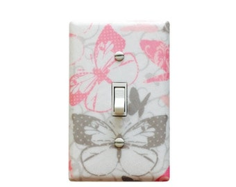 Butterfly Light SwitchPlate-Pink  Grey Butterfly light switch cover-Pink and Grey Nursery-Baby Pink Butterfly  Room-Grey Nursery Decor