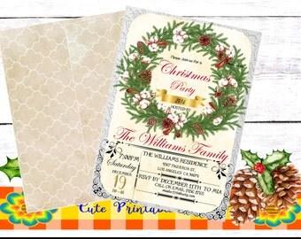 Christmas Party Invitation-Watercolor Invitation, Holiday Invitation Printable-INVNAVI-REACH-119