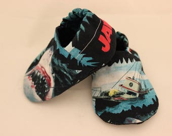 Jaws baby booties, Jaws crib shoes, newborn jaws crib shoes, shark week baby shoes