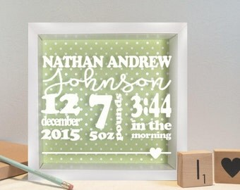 Personalised Baby Birth Details Box Frame   Name, weight, date and time of birth