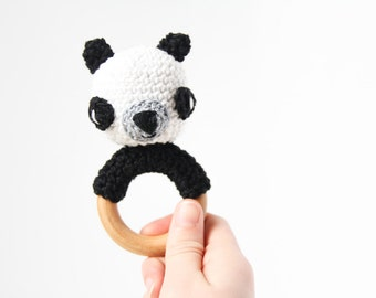 Crochet Panda Rattle Wooden Teether – baby toy, handmade to order
