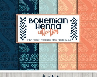 Navy and Coral Bohemian Henna Digital Paper Set (5) and Embellishments (10)