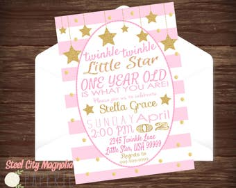 Twinkle Twinkle Little Star, Gold & Pink First Birthday Invitation, girl's birthday invite, gold dots, stripes, photo, 5x7 digital printable