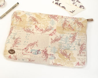 """15"""" Macbook Pro Laptop Sleeve with Brass Zipper in Butterflies and Berries Printed Cotton in Cream & Pink"""