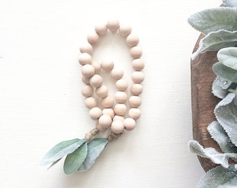 Wooden Bead Garland, Wood Bead Garland, Garland, Wood Beads, Bead Garland, lambs ear, summer decor, wood decor, lambs ear garland, rustic