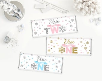 Winter onederland Candy bar wrapper, pink and gold Candy bar wrapper, pink and silver first birthday party Candy bar wrapper, blue silver