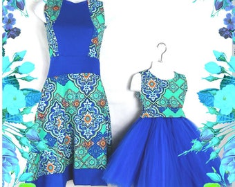 """Mother Daughter Matching Dress. """"Jasmine"""" blue andAqua celtic pattern. Mommy and me fashion girls clothes baby girl dress"""